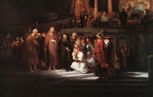 """Rembrandt """"Christ and the Woman Taken in Adultery"""